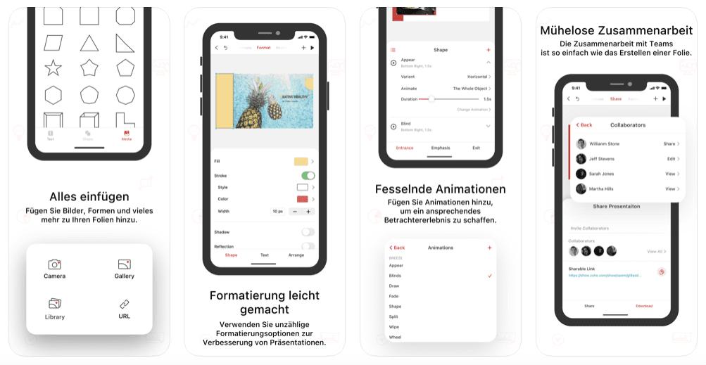 Screenshots von der Zoho Show-App, der PowerPoint-Alternative