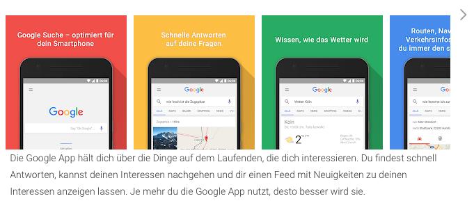 Dies ist die Beschreibung der Google App. Und man kann dieser schon entnehmen, dass persönliche Daten verwendet werden, um die App immer intelligenter zu machen.