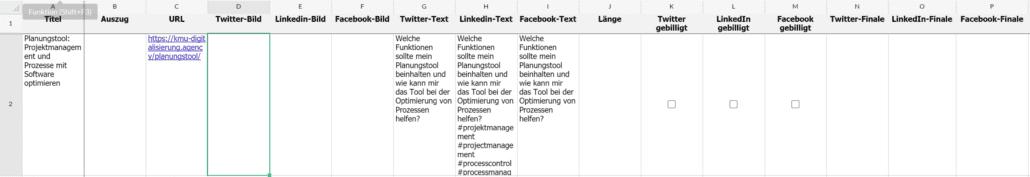 Weiterführendes Beispiel für Zoho Sheet-Header mit der Bezeichnung Länge, Twitter gebilligt, LinkedIn gebilligt, Facebook gebilligt, Twitter-Finale, LinkedIn-Finale und Facebook-Finale.